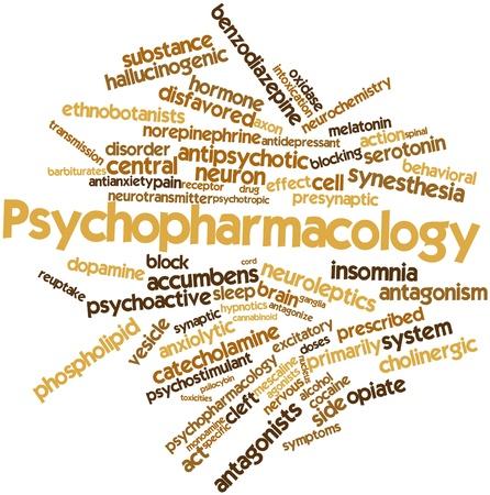 sistema nervioso central: Nube palabra abstracta para psicofarmacología con las etiquetas y términos relacionados
