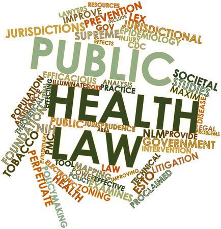 salud publica: Nube palabra abstracta por la ley de salud pública con las etiquetas y términos relacionados Foto de archivo