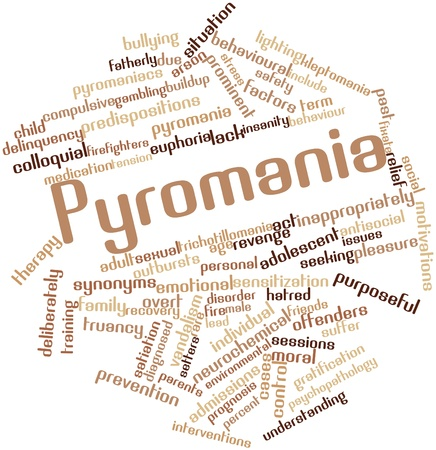 purposely: Abstract word cloud for Pyromania with related tags and terms Stock Photo