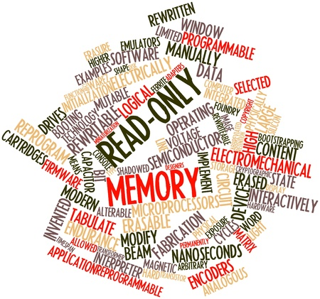 arbitrario: Nube palabra abstracta para memoria de sólo lectura con etiquetas y términos relacionados Foto de archivo