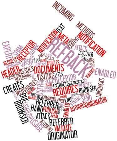 enabled: Abstract word cloud for Refback with related tags and terms Stock Photo