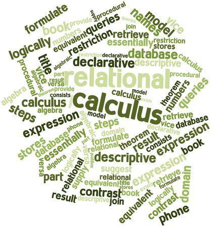 algebraic: Abstract word cloud for Relational calculus with related tags and terms