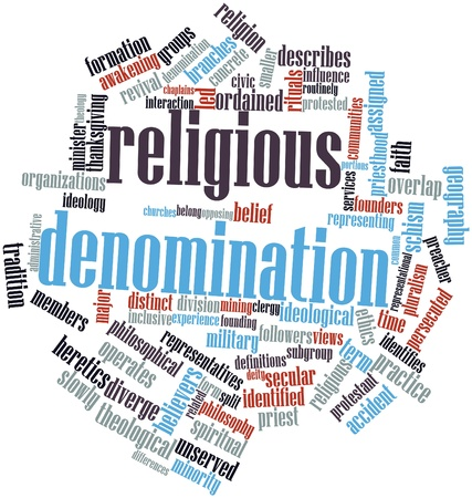 representational: Abstract word cloud for Religious denomination with related tags and terms