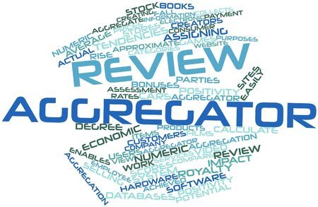 actual: Abstract word cloud for Review aggregator with related tags and terms Stock Photo