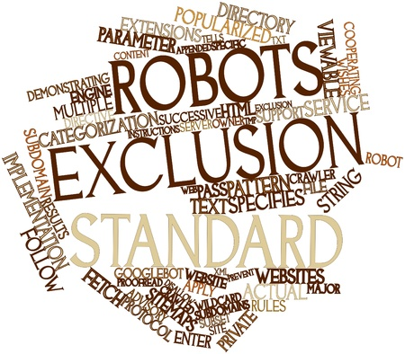 Abstract word cloud for Robots exclusion standard with related tags and terms Stock Photo - 16632906