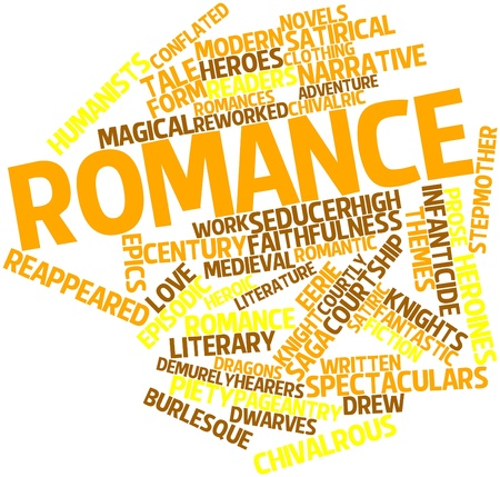 mingled: Abstract word cloud for Romance with related tags and terms Stock Photo