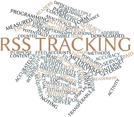 syndication: Abstract word cloud for RSS tracking with related tags and terms