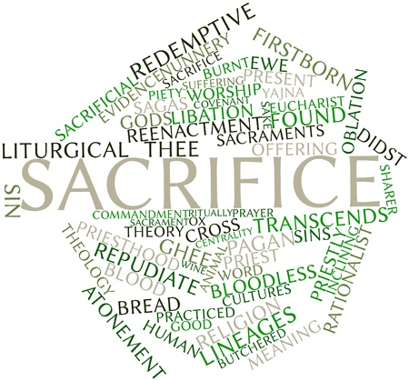 continuation: Abstract word cloud for Sacrifice with related tags and terms