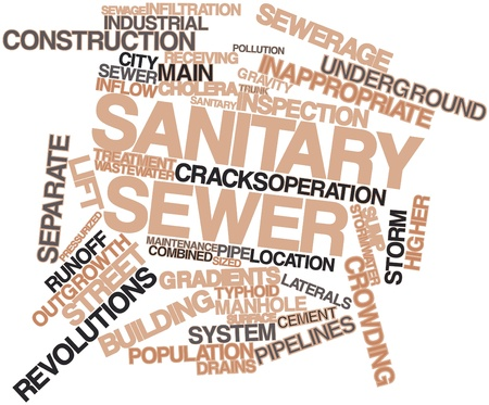 sewer: Abstract word cloud for Sanitary sewer with related tags and terms Stock Photo