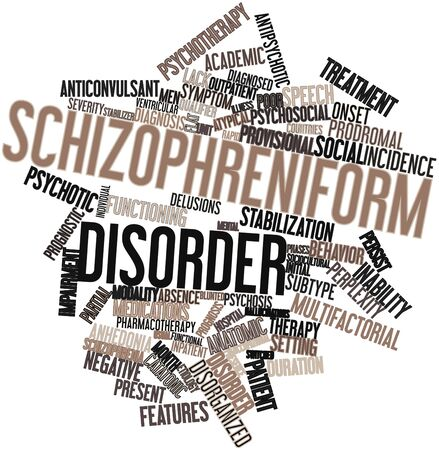 interventions: Abstract word cloud for Schizophreniform disorder with related tags and terms Stock Photo