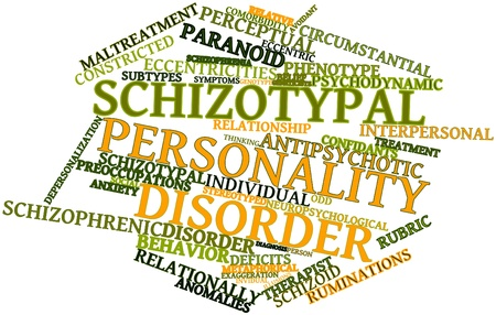 flagging: Abstract word cloud for Schizotypal personality disorder with related tags and terms Stock Photo