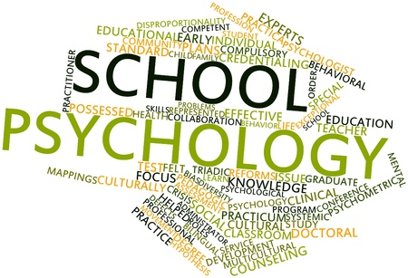 Abstract word cloud for School psychology with related tags and terms