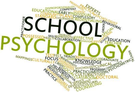 psicologia infantil: Nube palabra abstracta para la psicología escolar con las etiquetas y términos relacionados Foto de archivo