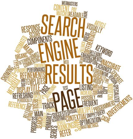frequent: Abstract word cloud for Search engine results page with related tags and terms Stock Photo