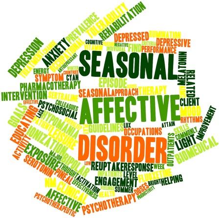 wanorde: Abstract woordwolk voor Seizoensgebonden affectieve stoornis met gerelateerde tags en voorwaarden