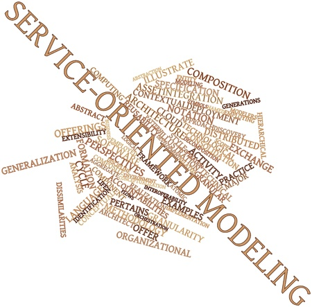 Abstract word cloud for Service-oriented modeling with related tags and terms Stock Photo - 16632515