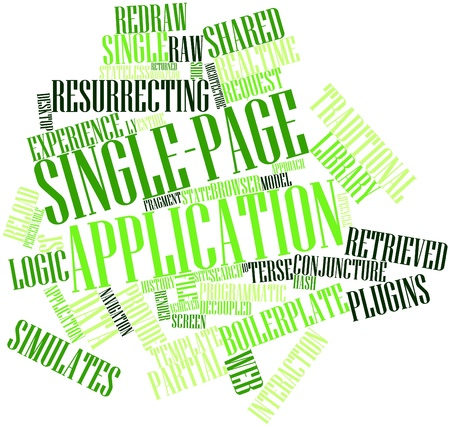 Abstract word cloud for Single-page application with related tags and terms Stock Photo - 16632428
