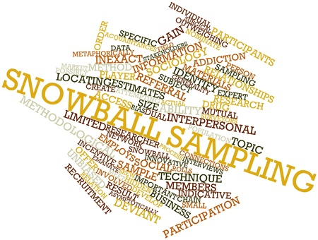 sociology: Abstract word cloud for Snowball sampling with related tags and terms
