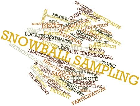 sociologia: Nube palabra abstracta para el muestreo bola de nieve con las etiquetas y términos relacionados Foto de archivo