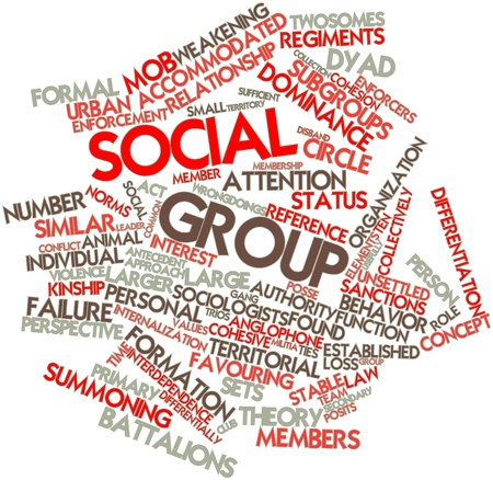 Abstract word cloud for Social group with related tags and terms
