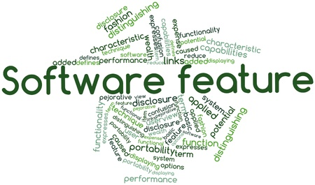 distinguishing: Abstract word cloud for Software feature with related tags and terms