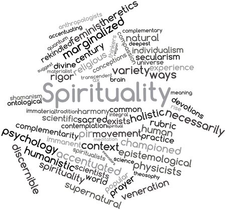 word clouds: Abstract word cloud for Spirituality with related tags and terms