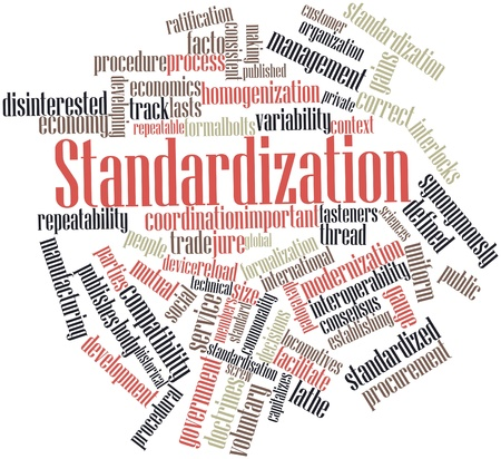 Abstract word cloud for Standardization with related tags and terms