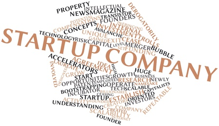 footing: Abstract word cloud for Startup company with related tags and terms