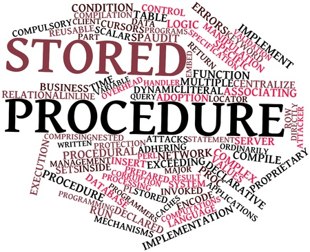 compile: Abstract word cloud for Stored procedure with related tags and terms