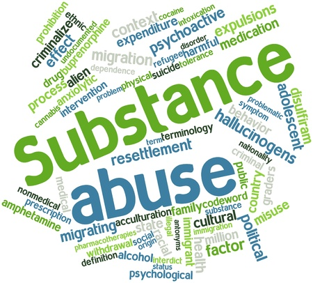 nonviolent: Abstract word cloud for Substance abuse with related tags and terms Stock Photo