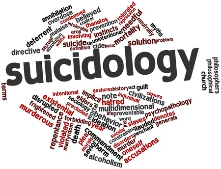 violated: Abstract word cloud for Suicidology with related tags and terms