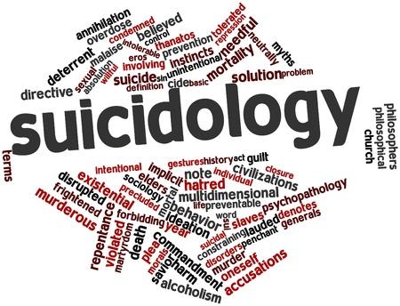 arrepentimiento: Nube palabra abstracta para Suicidología con etiquetas y términos relacionados