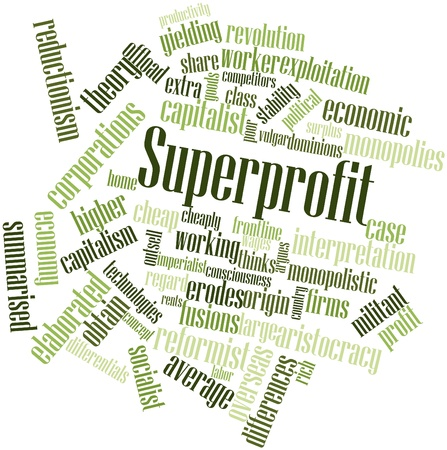 thinkers: Abstract word cloud for Superprofit with related tags and terms Stock Photo