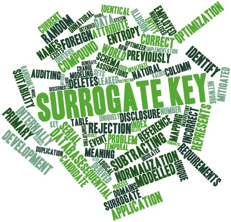 Abstract word cloud for Surrogate key with related tags and terms Stock Photo