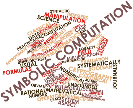 rewrite: Abstract word cloud for Symbolic computation with related tags and terms Stock Photo