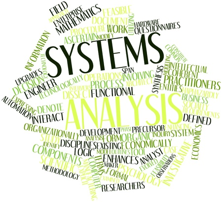 Abstract word cloud for Systems analysis with related tags and terms Stock Photo - 16632455