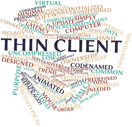 redirection: Abstract word cloud for Thin client with related tags and terms