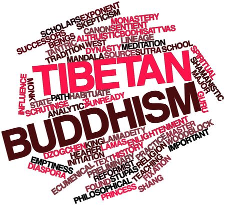 lineage: Abstract word cloud for Tibetan Buddhism with related tags and terms Stock Photo