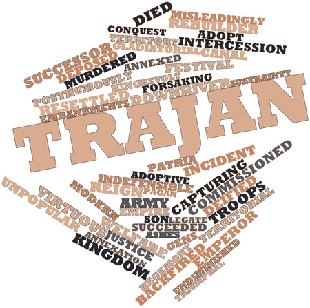 deposed: Abstract word cloud for Trajan with related tags and terms