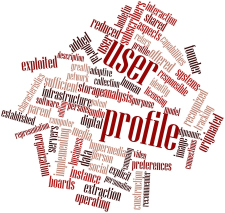 Abstract word cloud for User profile with related tags and terms Stock Photo - 16633321