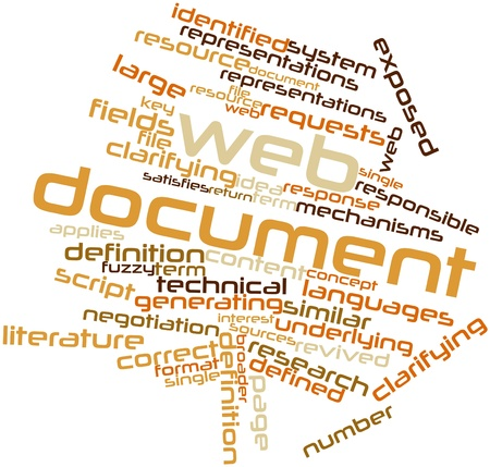 formats: Abstract word cloud for Web document with related tags and terms