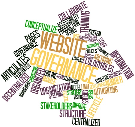 authorizing: Abstract word cloud for Website governance with related tags and terms