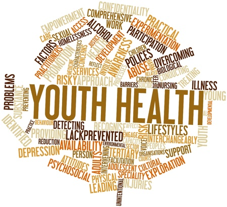 mental work: Abstract word cloud for Youth health with related tags and terms