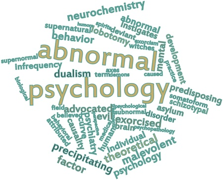 humanistic: Abstract word cloud for Abnormal psychology with related tags and terms Stock Photo