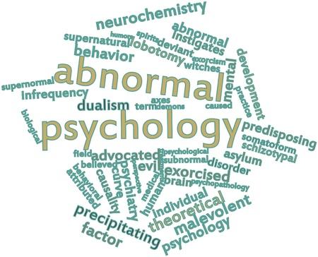 dualism: Nube palabra abstracta para la psicolog�a anormal con etiquetas y t�rminos relacionados Foto de archivo