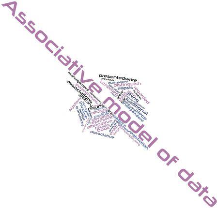 arbitrario: Nube palabra abstracta para el modelo asociativo de datos con etiquetas y términos relacionados Foto de archivo
