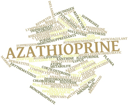 immunosuppressive: Abstract word cloud for Azathioprine with related tags and terms Stock Photo