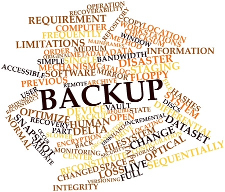 Abstract word cloud for Backup with related tags and terms Stock Photo - 16633090