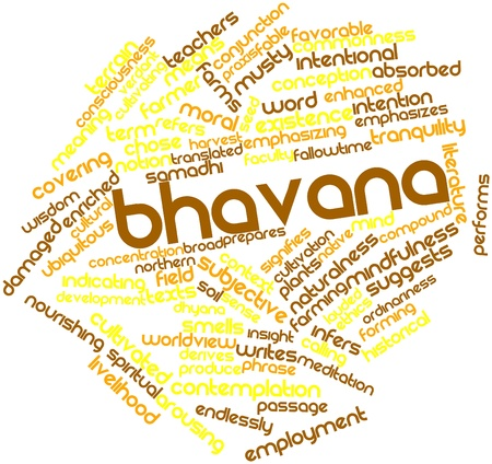 intentional: Abstract word cloud for Bhavana with related tags and terms Stock Photo