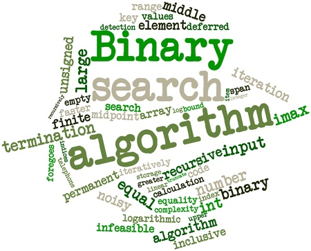 selects: Abstract word cloud for Binary search algorithm with related tags and terms Stock Photo